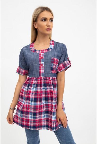 Рубашка женская розовая с синим в клетку 137R1544