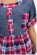 Рубашка женская розовая с синим в клетку 137R1544 скидка