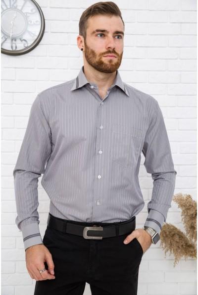 Серая рубашка мужская в полоску 5-9060-10