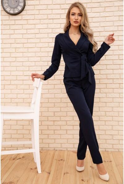 Костюм женский жакет с поясом и брюки цвет Темно-синий 167R1632-1 56282