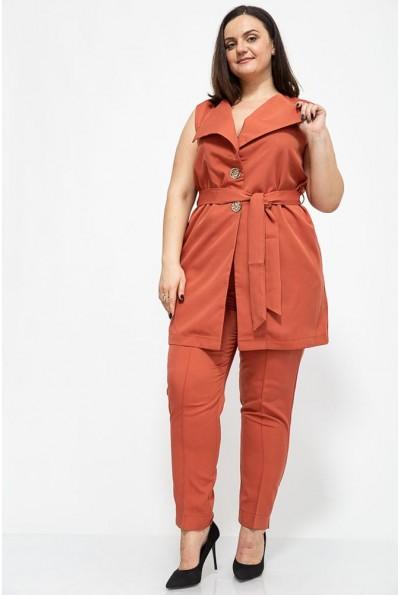 Женский костюм жилетка и брюки большой размер цвет Терракотовый 102R085 41331