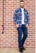 Рубашка мужская фланелевая  цвет сине-белый 129R16114 недорого