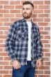 Рубашка мужская фланелевая  цвет сине-желтый 129R16114 стоимость
