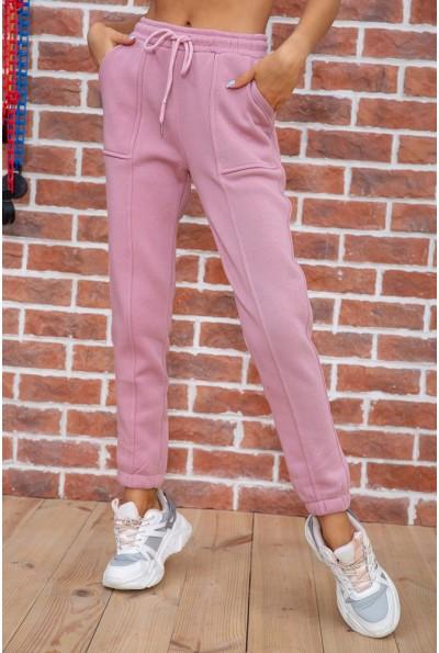 Спорт штаны женские на флисе  цвет пудровый 182R011 67496