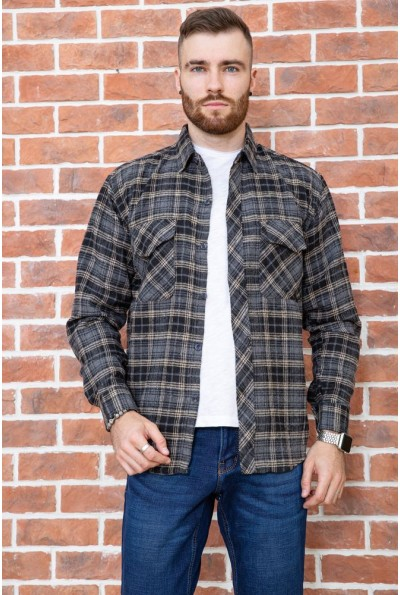 Рубашка мужская фланелевая  цвет серо-бежевый 129R16114 67207