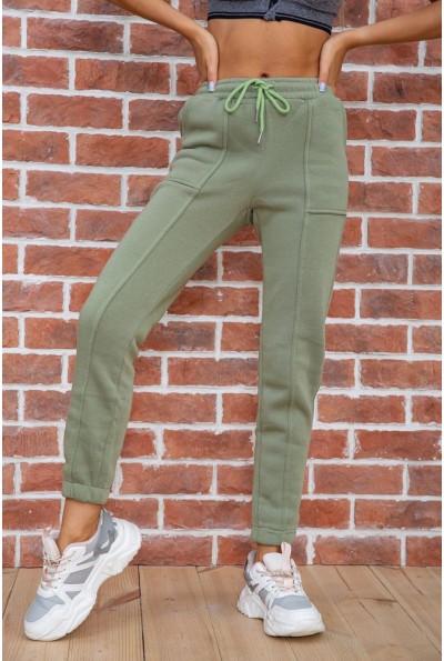 Спорт штаны женские на флисе  цвет оливковый 182R011 67494