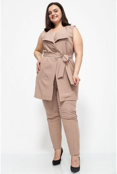 Женский костюм жилетка и брюки большой размер цвет Бежевый 102R085 41327