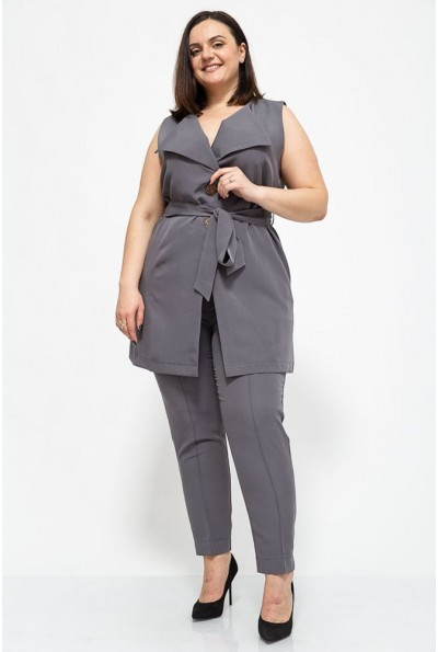 Женский костюм жилетка и брюки большой размер цвет Серый 102R085 41329