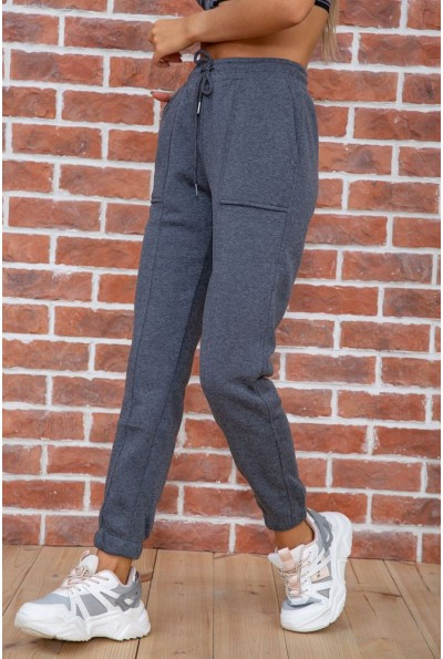 Спорт штаны женские на флисе  цвет серый 182R011 67500