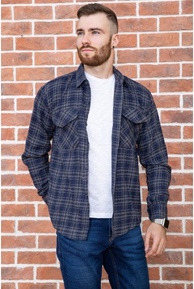 Рубашка мужская фланелевая  цвет синий 129R16114 67227