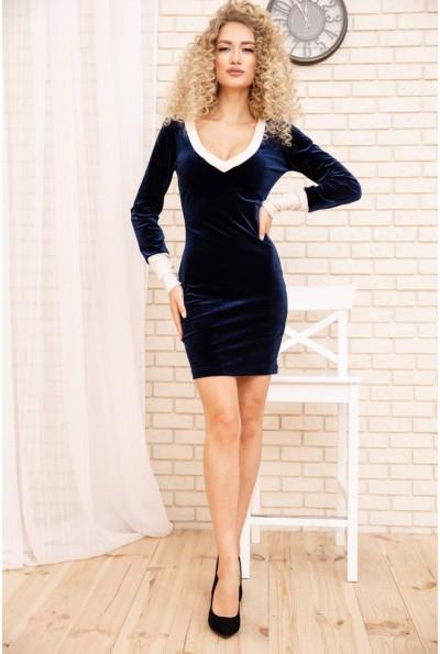 Велюровое женское платье мини цвет Темно-синий 167R31-1 54204