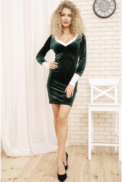 Велюровое женское платье мини цвет Темно-зеленый 167R31-1 54202