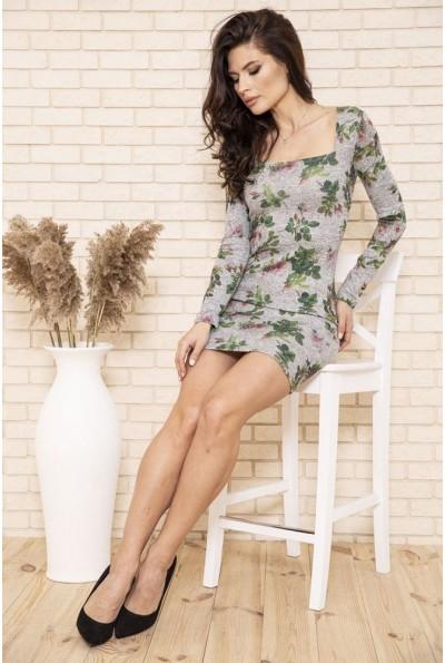 Платье футляр с цветочным принтом цвет Серый 102R150 48475