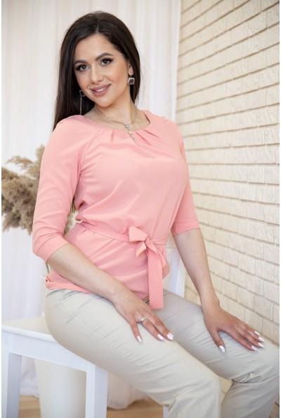 Блузка с рукавами 3/4 и поясом цвет Пудровый 172R1-1 54926