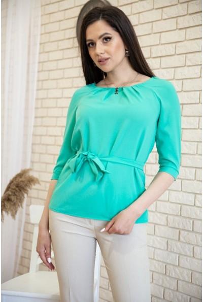 Блузка с рукавами 3/4 и поясом цвет Бирюзовый 172R1-1 54920