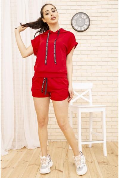 Костюм женский укороченный худи и шорты цвет Красный 102R054-1