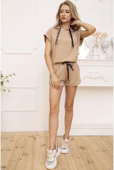 Костюм женский укороченный худи и шорты цвет Мокко 102R054-1 52840