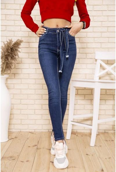 Темно-синие женские джинсы скинни с поясом 164R1180-7 49644