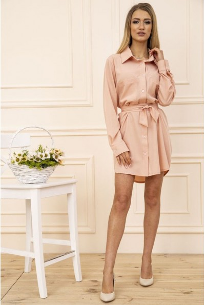 Платье-рубашка с поясом и карманами цвет Персиковый 102R043-1