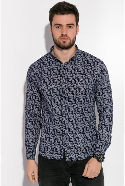 Рубашка мужская темно-синяя с длинными рукавами 511F005-2