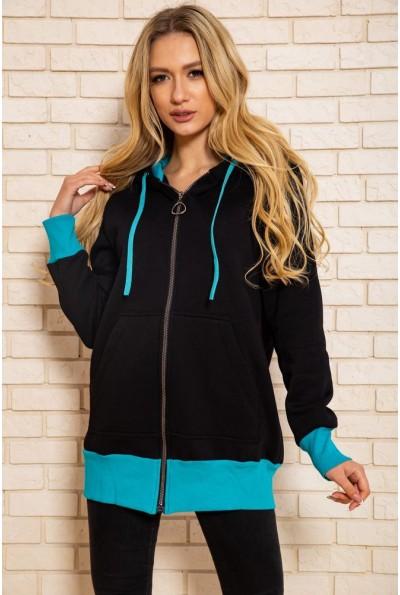 Спортивная  кофта женская  на флисе 102R5060 цвет Черно-бирюзовый