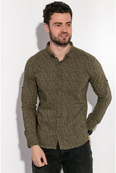 Рубашка мужская хаки приталенная нарядная 511F005-2