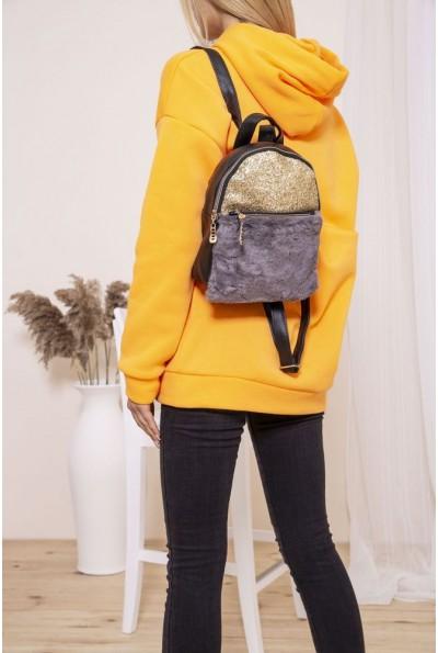 Маленький рюкзак с мехом и блестками цвет Черно-серый 154R003-16-1 46817