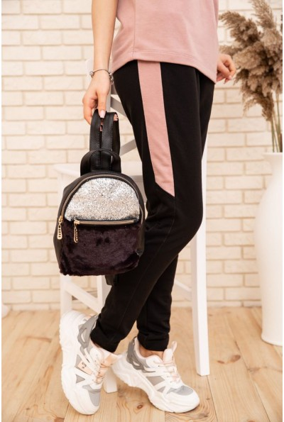 Маленький рюкзак с мехом и блестками цвет Черно-сливовый 154R003-16-1 53651