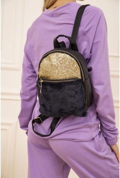 Маленький рюкзак с мехом и блестками цвет черный 154R003-16-1 48250