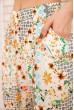 Летние хлопковые штаны с цветочным принтом цвет Бело-желтый 172R69-1 скидка