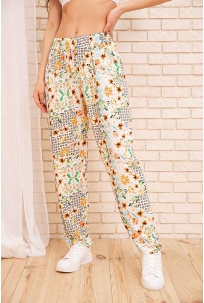 Летние хлопковые штаны с цветочным принтом цвет Бело-желтый 172R69-1