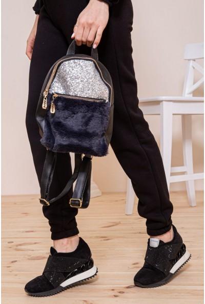 Маленький рюкзак с мехом и блестками цвет Черно-серебристый 154R003-16-1 46815