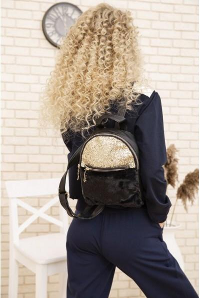 Маленький рюкзак с мехом и блестками цвет черный 154R003-16-1 53649