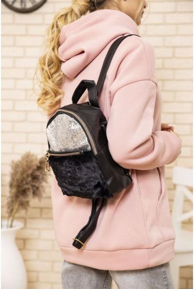 Маленький рюкзак с мехом и блестками цвет Черный 154R003-16-1 48160