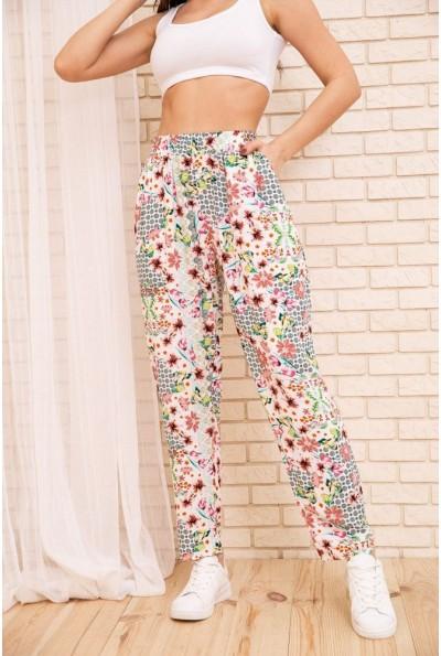 Летние хлопковые штаны с цветочным принтом цвет Бело-пудровый 172R69-1 55059
