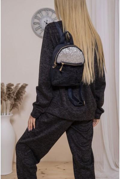 Маленький рюкзак с мехом и блестками цвет Серебристо-синий 154R003-16-1 46835