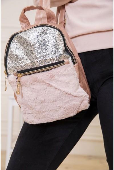 Маленький рюкзак с мехом и блестками цвет Пудровый 154R003-16-1