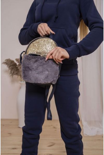 Маленький рюкзак с мехом и блестками цвет Серо-синий 154R003-16-1 46801