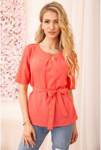 Блузка с короткими рукавами и поясом цвет Коралловый 172R21-1 55041