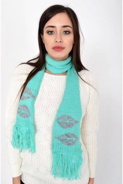 Изумрудно-серый шарф женский, вязаный с рисунком листья 103R067