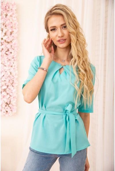 Блузка с короткими рукавами и поясом цвет Бирюзовый 172R21-1 55037