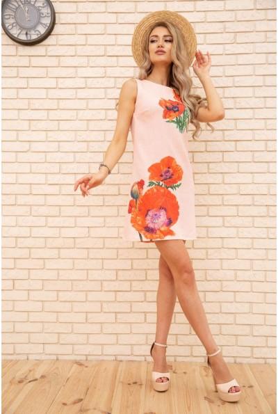 Короткое платье из льна с цветами Маки цвет Персиковый 172R019-1 55855