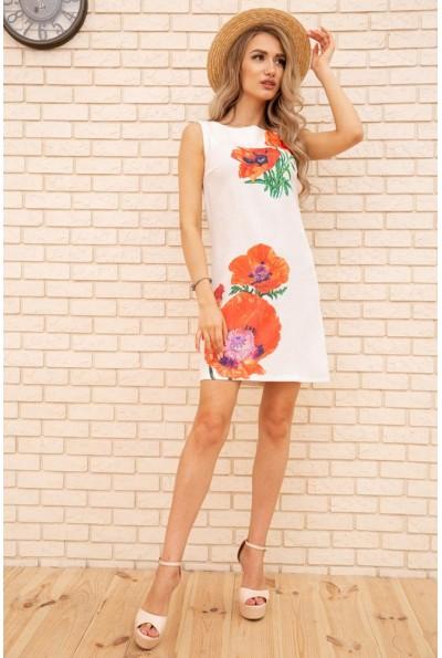 Короткое платье из льна с цветами Маки цвет Белый 172R019-1 55853