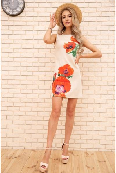 Короткое платье из льна с цветами Маки цвет Бежевый 172R019-1