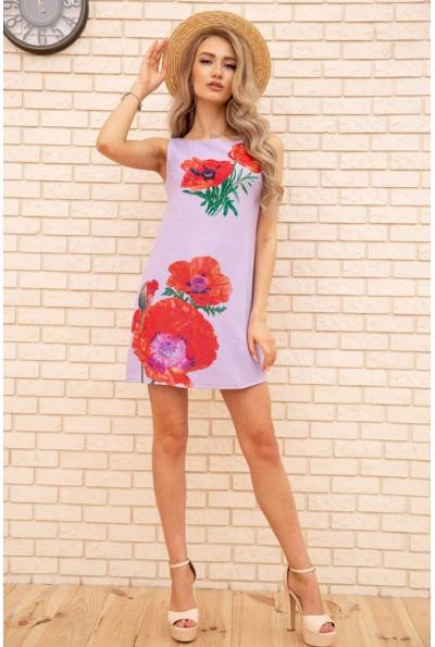 Короткое платье из льна с цветами Маки цвет Сиреневый 172R019-1 55857