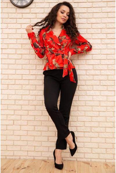 Женский костюм пиджак с кошками и брюки цвет Красный 167R1663 56292