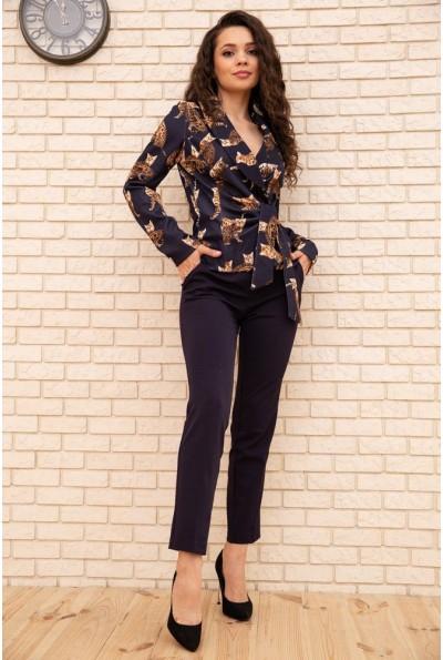 Женский костюм пиджак с кошками и брюки цвет Темно-синий 167R1663 56296
