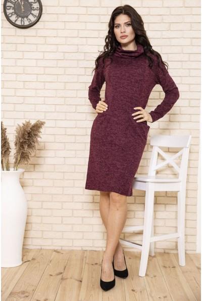 Платье женское футляр вязаное из ангоры цвет Бордовый 167R1674 50145