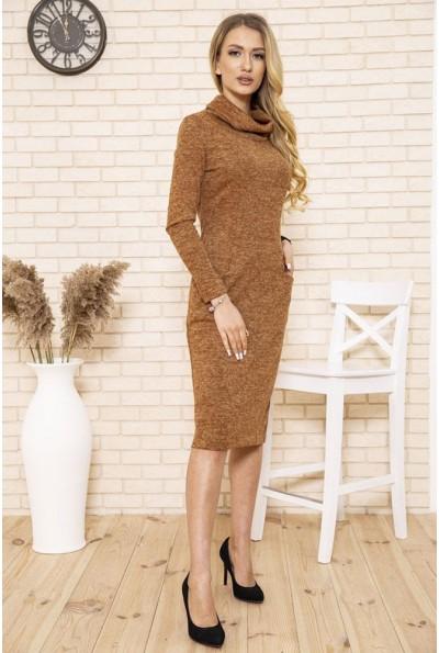 Платье женское футляр вязаное из ангоры цвет Коричневый 167R1674 50147