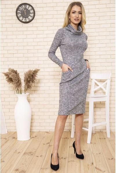 Платье женское футляр вязаное из ангоры цвет Серый 167R1674